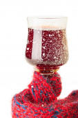 The Wineglass with Wine Muffled in Scarf — Stock Photo