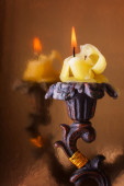 Burning Candle in the Elegant Candlestick — Foto de Stock