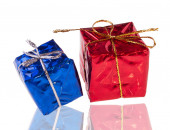 Red and Blue Present Boxes — Stock Photo