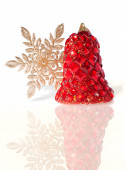 Splendid Christmas Bell Encrusted with Imitation Jewelry — Stock Photo