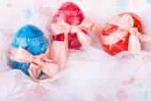 Easter Eggs Decorated with Bows — Stock Photo