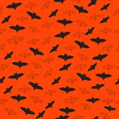 Seamless Halloween Background with Bats Flying — Stock Vector