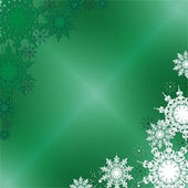 Winter Fine Ornate Snowflakes on the Green Iced Background — Stock Vector