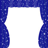 Blue Winter Styled Curtain — Stock Vector