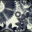 Cogwheels and gears in titanium and steel — Stock Photo #53636707