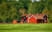 Old red farm houses in rural surroundings — Stock Photo