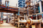 Interior of large oil and gas refinery — Stock Photo