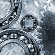 Ball-bearings and giant cogwheel close-ups — Stock Photo #54392533