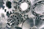 Cogwheels, ball-bearings and gears engineering — Stock Photo