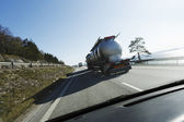 Fuel-truck on the move — Stock Photo