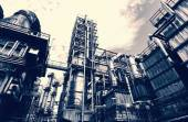 Oil refinery, vintage effect — Stock Photo