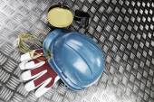 Hard-hat and industry protective gear — Stock Photo