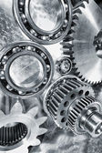 Cogwheels and bearings, titanium and steel — Stock Photo