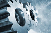 Titanium cogwheels, aerospace indusrty — Stock Photo