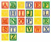 ABC Wooden alphabet block paint colorful — Stock Photo