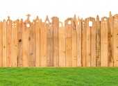 Pattern detail of fence wood texture with grass field — Stock Photo