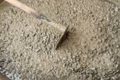 Mixed fresh concrete on construction site — Stock Photo