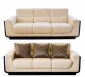 Modern white cream leather sofa — Stock Photo