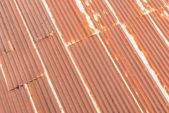 Old rusty galvanized steel of old roof — Stock Photo