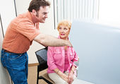 Poll Worker Helps Voter — Stock Photo
