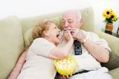 Seniors Popcorn Television — Stock Photo