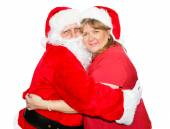 Mrs Claus Hugs Santa — Stock Photo