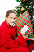 Boy With Chrstmas Gift — Foto Stock