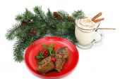 Fruitcake and Eggnog — Stock Photo