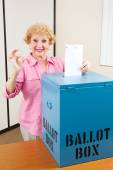 Senior Woman Voting AOkay — Stock Photo