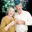 Seniors Party on New Years Eve - Fireworks — Stock Photo #58825949