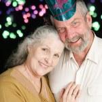 Senior Couple New Years Fireworks — Stock Photo #58826005