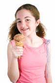 Young Girl With Ice Cream Cone — Stock Photo