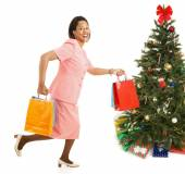 Christmas Shopping - Running for Sales — Stock Photo