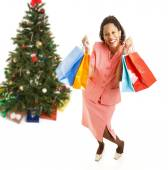 Excited African-American Christmas Shopper — Stock Photo