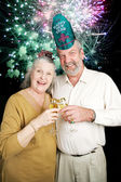 Seniors Party on New Years Eve - Fireworks — Stock Photo