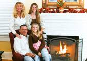 Family By Fireside — Stock Photo