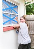 Windows Taped for Hurricane — Stock Photo