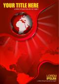 Abstract vector red background with continents and globe — Stock Vector
