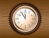 Vector analog clock on wooden background — Stock Vector