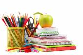 School and office supplies on white background. Back to school. — Stock fotografie