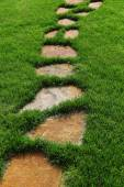 Stone path on the green grass. — Stock Photo