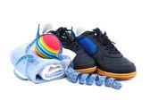 Sportschuhe, ausrüstung und maßband. — Stockfoto