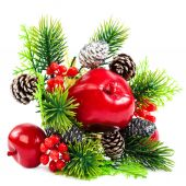 Christmas decoration, fir branch, pine cones, cranberry, apple. — Stockfoto