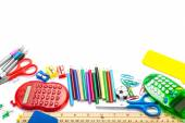 Stationery and school supplies isolated on white background. — Stock Photo