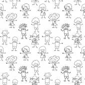 Kids Seamless black and white Pattern — 图库照片