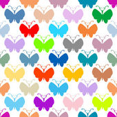 Butterfly multicolor silhouettes seamless pattern — Stock Photo