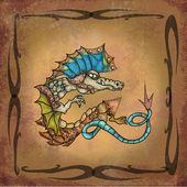 Dragon on manuscript — Stock Photo