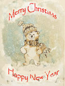 Bear Christmas vintage greeting card — Stock Photo