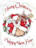 Santa and Deer  Christmas vintage greeting card — Stock Photo