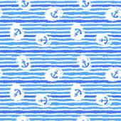 Nautical Watercolor hand drawn grunge  Seamless Pattern — Стоковое фото